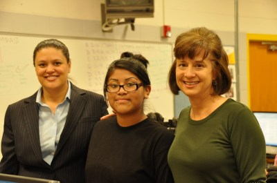 Lanier Teacher of the Year Belinda Killion-Procida and her student of the month with AISD Superintendent Dr. Meria Carstarphen