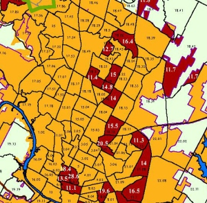 Map showing Austin census tracts 18.02, 18.06, 18.19 and 18.20 as TEAs for the EB-5 investor visa program